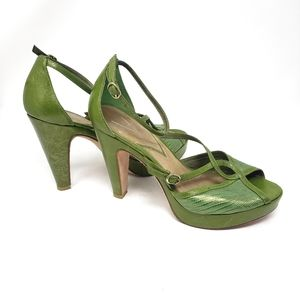 Vince Camuto   Green All Leather Open Toe Heels 8